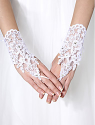 cheap -Tulle Wrist Length Glove Bridal Gloves With Beading Elegant Style