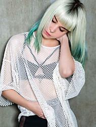 Donna Parrucche sintetiche Senza tappo Pantaloncini Lisci Verde Parrucca naturale Parrucca di Halloween Parrucca di carnevale costumi