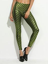 cheap -Women's New Fashion  tight buttock scale print  Metallic Scales Leggings