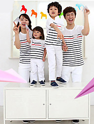 cheap -CCGS®Family's Fashion Joker Leisure Parent Child Long Sleeved Love Stripe T Shirt Parentage Clothing