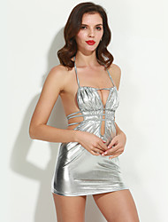cheap -Women's Ultra Sexy Suits Nightwear,Sexy Solid-Thin Polyester Patent Leather