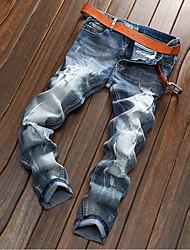 billige -Herre Simple Bomuld Ret / Jeans Bukser Ensfarvet