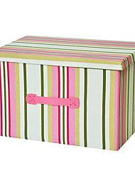 RayLineDo® 39L Foldable Canvas Storage Box Clothes Blanket Closet Sweater Organizer Home Docor Box In Pink Stripes