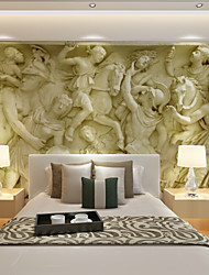 cheap -Art Deco Wallpaper For Home Wall Covering Canvas Adhesive required Mural Yellow Large Relief Background XXXL(448*280cm)XXL(416*254cm)XL(312*219cm)