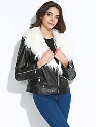 Women Faux Fur / Faux Leather Outerwear / Top Motorcycle Winter Jacket