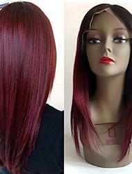 Top Grade Brazilian Virgin Hair Full Lace Wigs Straight Hair Black Root Dark Wine Color Human Virgin Hair Lace Wigs For Fashion Woman