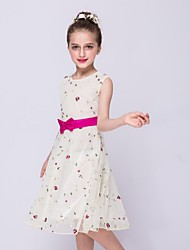 cheap -A-Line Knee Length Flower Girl Dress - Organza Sleeveless Jewel Neck with Bow(s) Embroidery by YDN