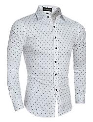 Camicia Da uomo Casual Semplice Primavera Autunno,Tinta unita Colletto alla Peter Pan Cotone Manica lunga Medio spessore
