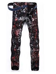 economico -Da uomo A vita medio-alta Casual Media elasticità Dritto Jeans Chino Pantaloni,Con stampe Cotone Primavera Autunno Per tutte le stagioni