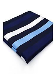 BH27 Mens Pocket Square Navy Blue Stripes 100% Silk Business Casual Jacquard New For Men