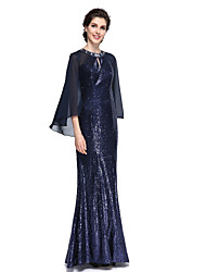 Mermaid / Trumpet Jewel Neck Floor Length Chiffon Sequined Mother of the Bride Dress with Sequins by LAN TING BRIDE®
