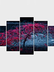 Framed Art Print Landscape Floral/Botanical Modern,Five Panels Canvas Any Shape Print Wall Decor For Home Decoration
