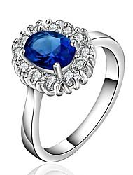 Ring Kvadratisk Zirconium Zirkonium Kvadratisk Zirconium Plastik Sølvbelagt Blå Smykker Daglig Afslappet 1 Stk.