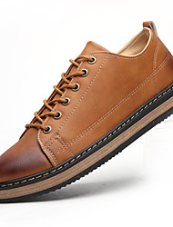 Men's Shoes Leatherette Spring Summer Fall Winter Comfort Oxfords Walking Shoes Stitching Lace Lace-up For Casual Outdoor Office & Career