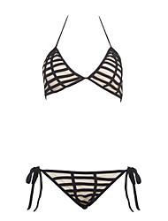 cheap -Women's Print Floral Halter Bikini Swimwear,Polyester Black