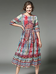 cheap -Women's Holiday / Going out Vintage / Street chic / Sophisticated Cotton Chiffon Dress - Patchwork