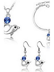 Women's Jewelry Set Crystal Party Austria Crystal Alloy Dolphin Animal 1 Necklace 1 Pair of Earrings 1 Bracelet