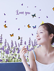 cheap -Love You Purple Lavender Flowers Wall Stickers DIY Butterfly Kitchen Living Room Fashion Wall Stickers Home Decoration Wall Decal