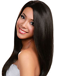 cheap -Human Hair Lace Front Wig / Glueless Lace Front Wig Straight 130% Density Natural Hairline / African American Wig / 100% Hand Tied Women's Long Human Hair Lace Wig