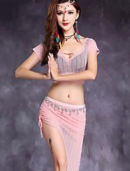cheap -Belly Dance Outfits Women's Performance Linen Split Front 2 Pieces Short Sleeve Natural Top Skirt