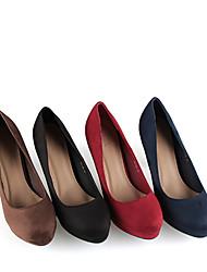 baratos -FemininoPlataforma Plataforma Básica-Salto Cone Plataforma-Preto Azul Marrom Vermelho-Camursa Sintética-Escritório & Trabalho Casual