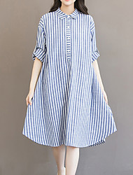 Women's Fine Stripe Plus Size Going out Casual/Daily Vintage Simple Cute Loose Dress,Striped Shirt Collar Asymmetrical Long Sleeve Cotton Linen Blue