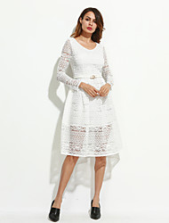 Women's Going out Boho / Sophisticated Lace DressSolid / Jacquard V Neck Knee-length Long Sleeve Pink / White / Black