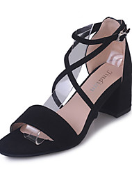 cheap -Women's Shoes PU Spring Summer Comfort Heels Low Heel Round Toe for Casual Black Gray Pink