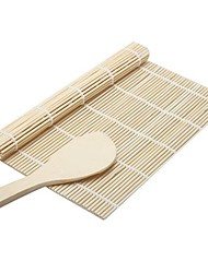 cheap -2Pcs  Kitchen Accessories Sushi Tools Rolling Roller Bamboo Material Mat Maker DIY And A Rice Paddle Cooking Tools