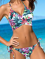 cheap -Women's Print Floral Boho Bandeau Bikini Swimwear,Polyester Blue