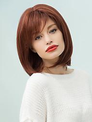 abordables -pixie bob corto y sedoso recta peluca de cabello humano lado Bang