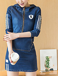 Women's Going out Casual/Daily Work Sexy Street chic Sophisticated Sheath Dress,Solid Hooded Above Knee Long Sleeve Others BlueAll
