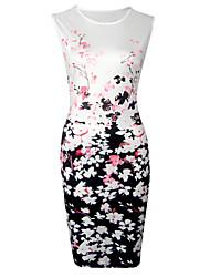 Fodero Vestito Da donna-Casual Per uscire Vintage Moda città Fantasia floreale Rotonda Sopra il ginocchio Senza maniche Bianco Poliestere