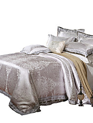 cheap -Shuian® Luxury Jacquard Silk Cotton Blend 4pcs Duvet Cover Bed Sheet Pillowcase Bed Linen
