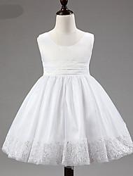 Robe Fille de Fleur Polyester / Mélange de Coton / Maille / Satin Eté / Printemps / Automne Rose / Violet / Rouge / Blanc