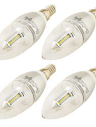 E14 Luci LED a candela C37 32 leds SMD 3014 Decorativo Bianco caldo 250lm 3000K AC 220-240 AC 100-240 110-120V