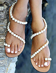 Women's Shoes PU Spring Summer Fall Sandals Low Heel Beading For Casual Dress Party & Evening Beige Almond