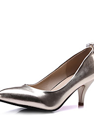 Women's Heels Spring Leatherette Wedding Dress Party & Evening Kitten Heel Rhinestone Gold Silver Blue Blushing Pink