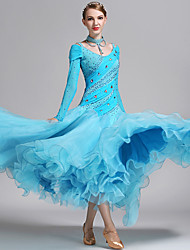 cheap -Ballroom Dance Women's Performance Spandex Tulle Crystals / Rhinestones Long Sleeves Dress Neckwear