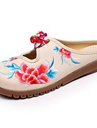 abordables -Femme Chaussures Toile Printemps Eté Confort Ballerines Talon Plat pour Décontracté De plein air Noir Beige Rouge Bleu