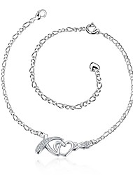 cheap -Anklet/Bracelet Zircon Silver Plated Alloy Natural Friendship Fashion Vintage Bohemian Punk Hip-Hop Turkish Simple Style Heart Silver