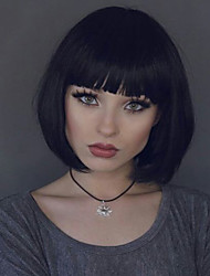cheap -High Quality Bob Wigs With Bangs Wholesale For Black Woman Virgin Human Natural Black Color Glueless Full Lace Wigs Cheap On Sale