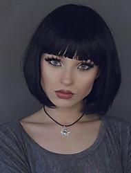 Kvinder Blondeparykker af menneskehår Menneskehår Blonde Front Halvblonder uden lim 130% Massefylde Glat Paryk Sort Kort Medium Lang