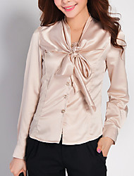 cheap -Women's Work Polyester Shirt - Solid, Bow Shirt Collar