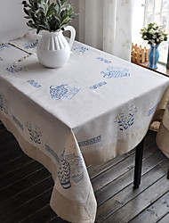 cheap -Embroidered Tablecloth Classical Linen Tablecloth Vintage Vase Table Cover 110x110cm For sale