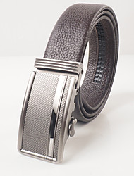 Men's fashion leisure coffee head layer cowhide litchi grain automatic buckle belts matte stereoscopic pattern agio with body is about 3.6 cm wide