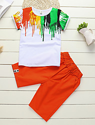Boy's Going out Casual/Daily/Holiday Color Block Cotton Summer Short Sleeve Middle Pants 2 Piece Clothing Set Children's Garments