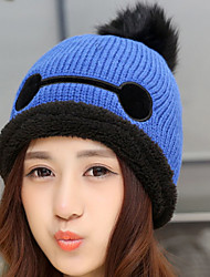 Women 's Wool Autumn And Winter Eye cartoon printing Plus Velvet Pure Color Knitted Warm Cap