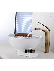 Antique Set de centre Jet pluie Soupape céramique Mitigeur un trou Cuivre antique , Robinet lavabo