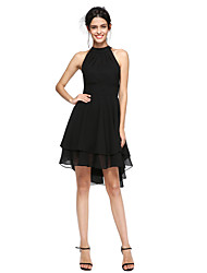 cheap -A-Line High Neck Asymmetrical Chiffon Little Black Dress / High Low Cocktail Party Dress with Pleats by TS Couture®